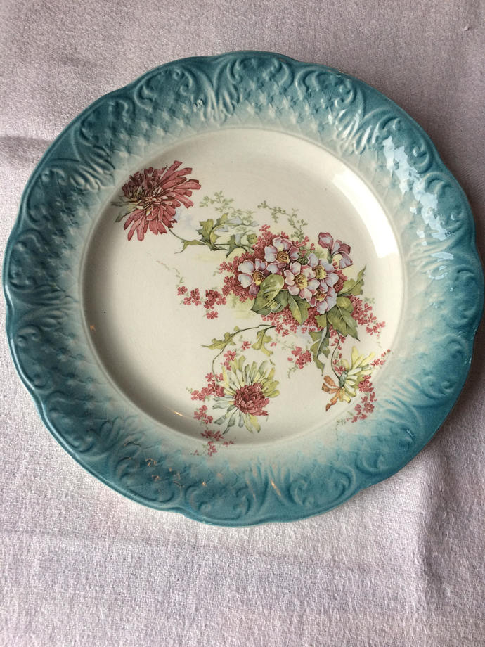 Teal blue decorative plate |Cabinet plate | French vintage blue and floral plate
