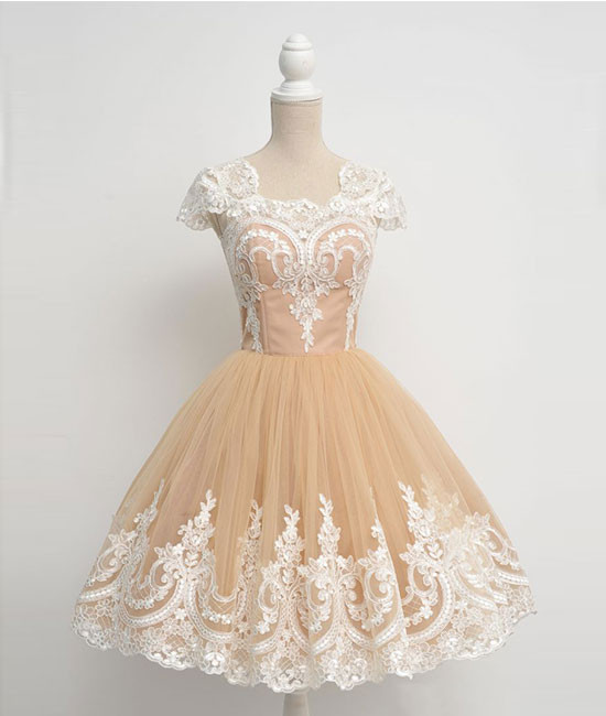 Vintage A-Line Cap Sleeves Tulle Lace Champagne Short Homecoming Dress 2018