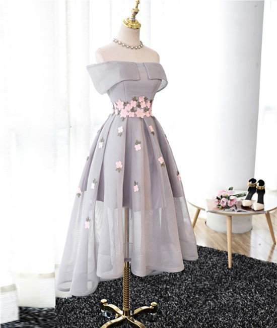 Elegant A-Line Off-Shoulder High-Low Gray Organza Prom/Bridesmaid Dress 2018