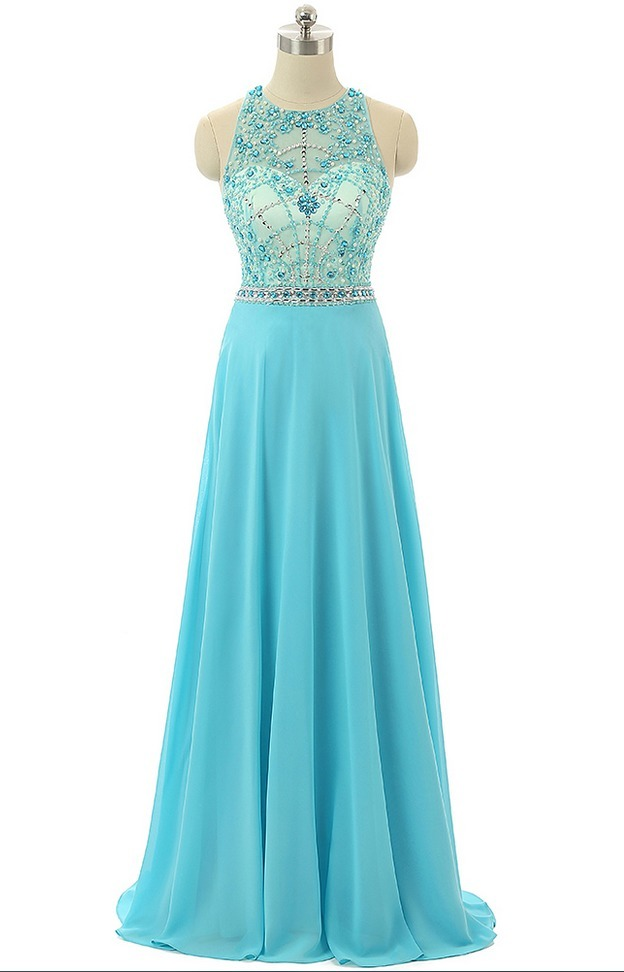 Sky Blue Beaded Prom Dresses,Beading Formal Dresses,Sheer Evening Gowns 2018,Sky