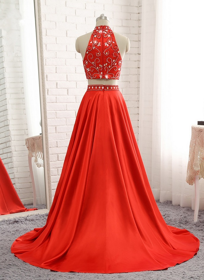 A-line Red Evening Dresses Soft Satin Prom Party Gown,Long Prom Dress, Sexy