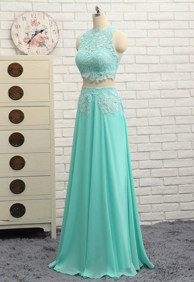 A-line High Collar Chiffon Lace Two Pieces Long Prom Gown Evening Dresses