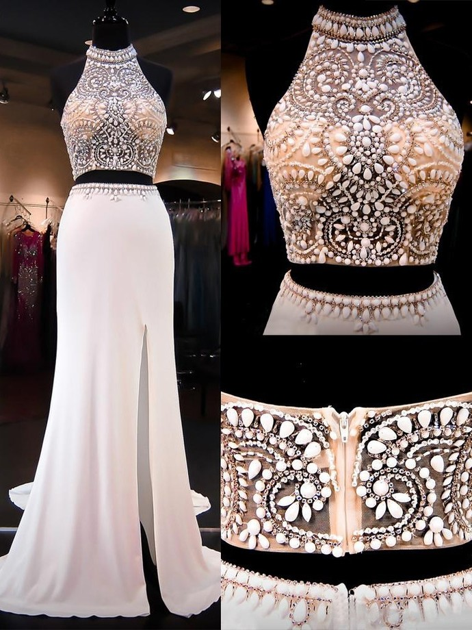 Two Piece Halter Beading Chiffon Long Prom Dresses Crystal Two Piece Slit Party