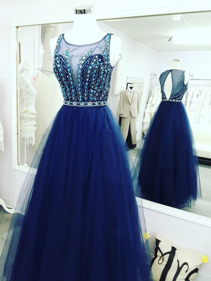 Royal Blue Tulle Beaded Long Prom Dress,Sleeveless Prom Dress with Illusion Neck