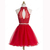 Red A-line High Neck Tulle Sleeveless Short Mini Appliques Lace Sequins