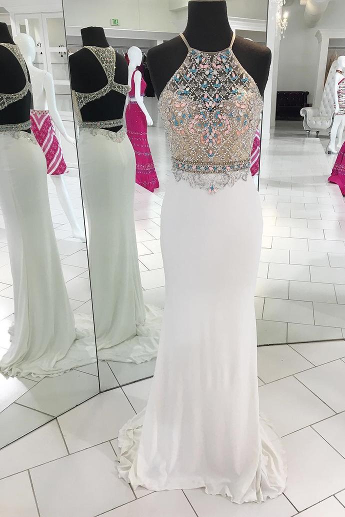 Unique Halter Mermaid White Long Prom Dress,A-Line Prom Dresses  Party Dress,