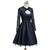 Navy A-line Long Sleeves Open Back Satin Appliques Lace Beaded Sexy Homecoming