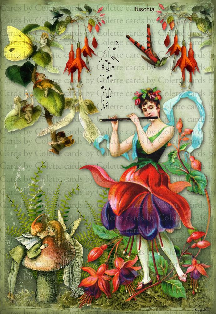Fairy and Fuschias Digital Collage Greeting Card1005