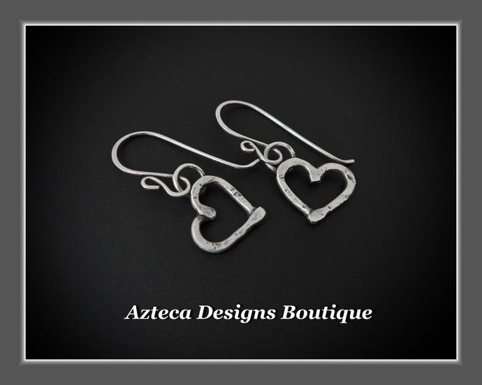Rugged Heart~ Argentium Silver Hand Forged Artisan Earrings