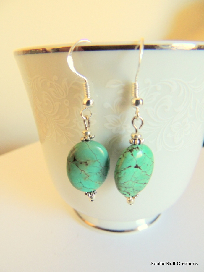Turquoise Oval Earrings, Dangle Earrings, Sterling Silver, Handcrafted Jewelry,
