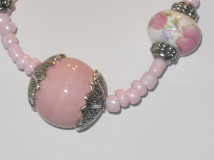 Delicate pink beaded handmade necklace