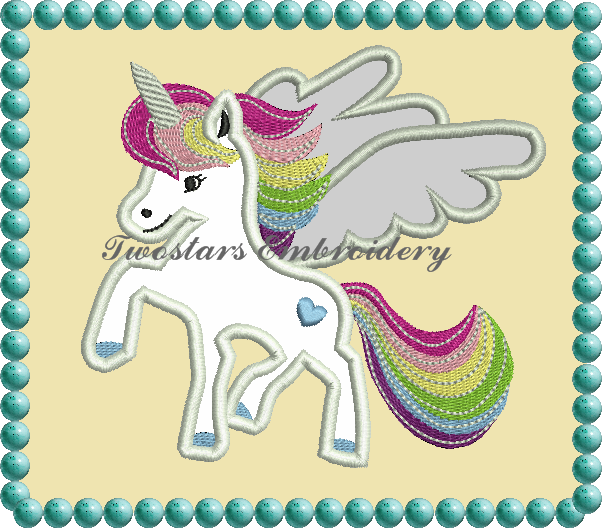 Unicorn 5x7 digital embroidery file.