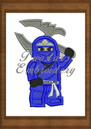 Blue ninja go 4x4 5x7 digital embroidery files.
