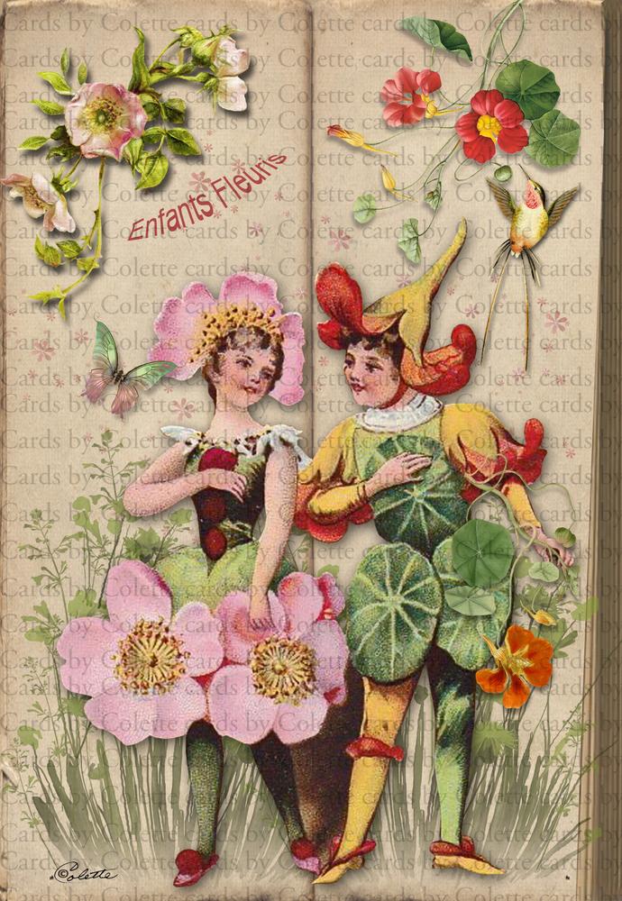 Flower Children Digital Collage Greeting Card1006
