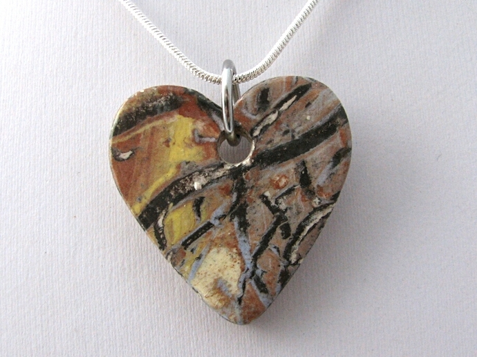 Abstract Heart Ceramic Pendant