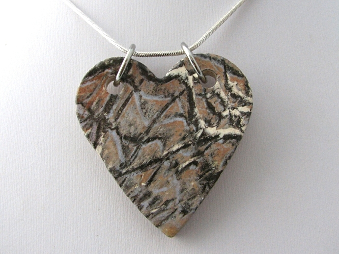 Large Abstract Heart Ceramic Pendant