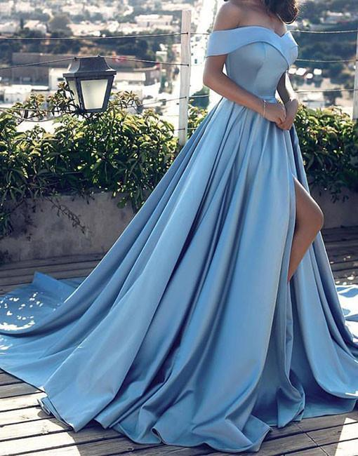 Sexy Light Blue Satin Prom Dress,Off Shoulder Long Prom dress,Blue Evening dress