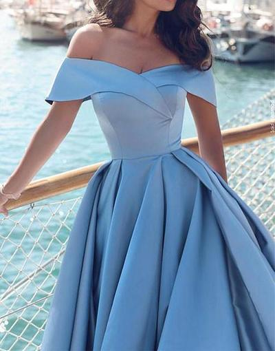 Sexy Light Blue Satin Prom Dress,Off Shoulder Long Prom dress,Blue Evening dress