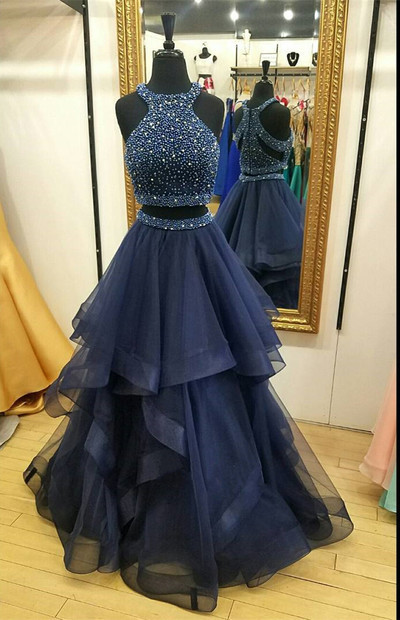 Charming Navy Blue Prom Dress,Two Piece Prom Dresses,Ball Gown Prom Dress,Long