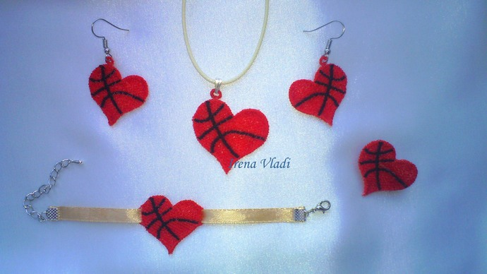 FSL Basketball Heart Jewelry Free Standing Lace - Machine Embroidery design