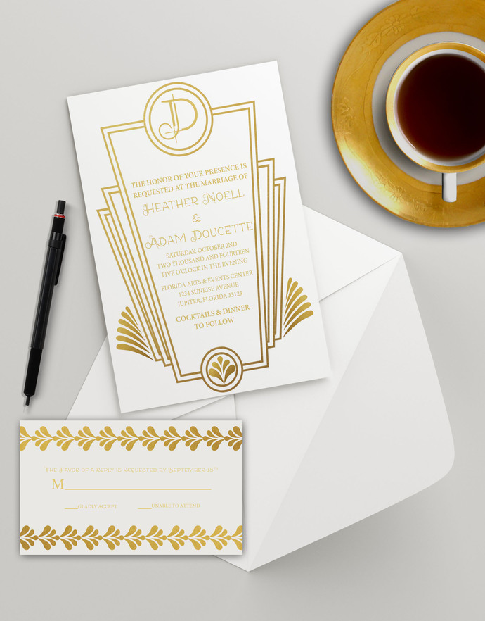 Instant Download - White Gold Art Deco Wedding Bridal Shower Golden Birthday
