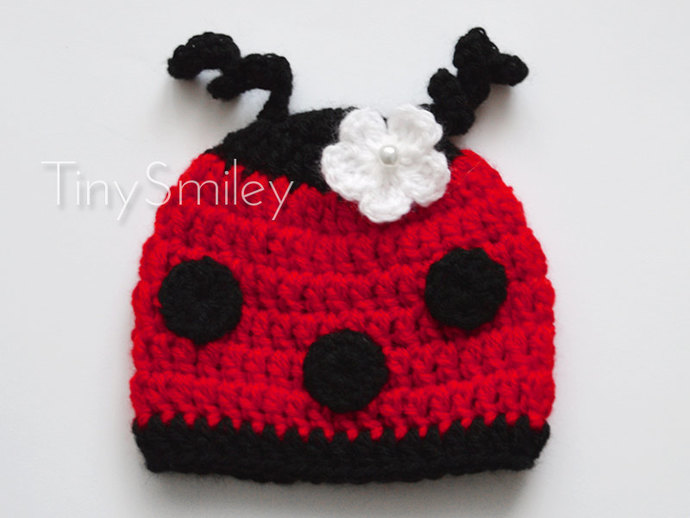 Ladybug Crochet Baby Hat Red Newborn Hat By Tinysmiley On Zibbet