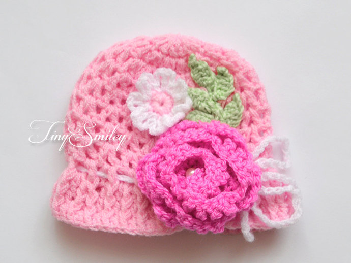 Baby Girl Hat Pink Baby Hat Crochet Baby Girl By Tinysmiley On