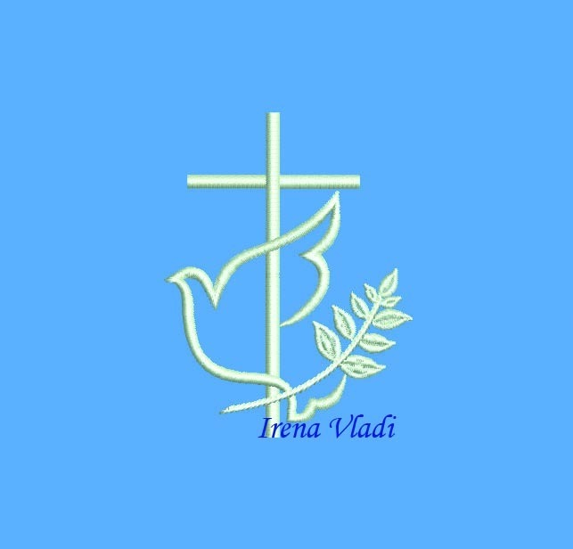 Christian Cross With Dove - Machine Embroidery design 4x4 - 3 sizes, Cross Dove