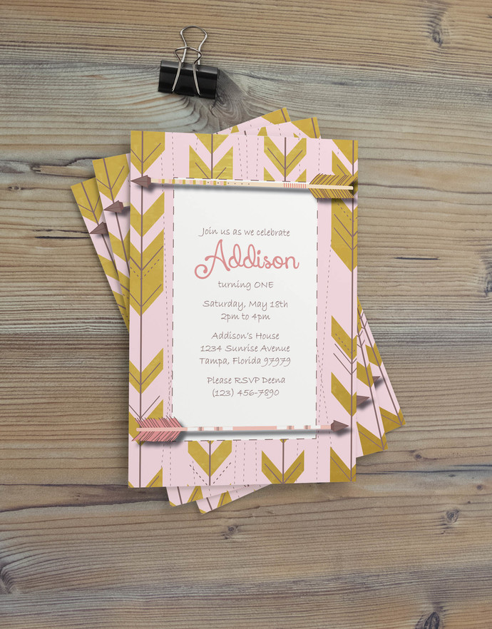 Instant Download - Arrow Aztec Pink Gold Southwestern Vintage Pattern Shabby