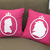 Special Valentine Gift. Beauty And The Beast Silhouettes Fuchsia Decorative