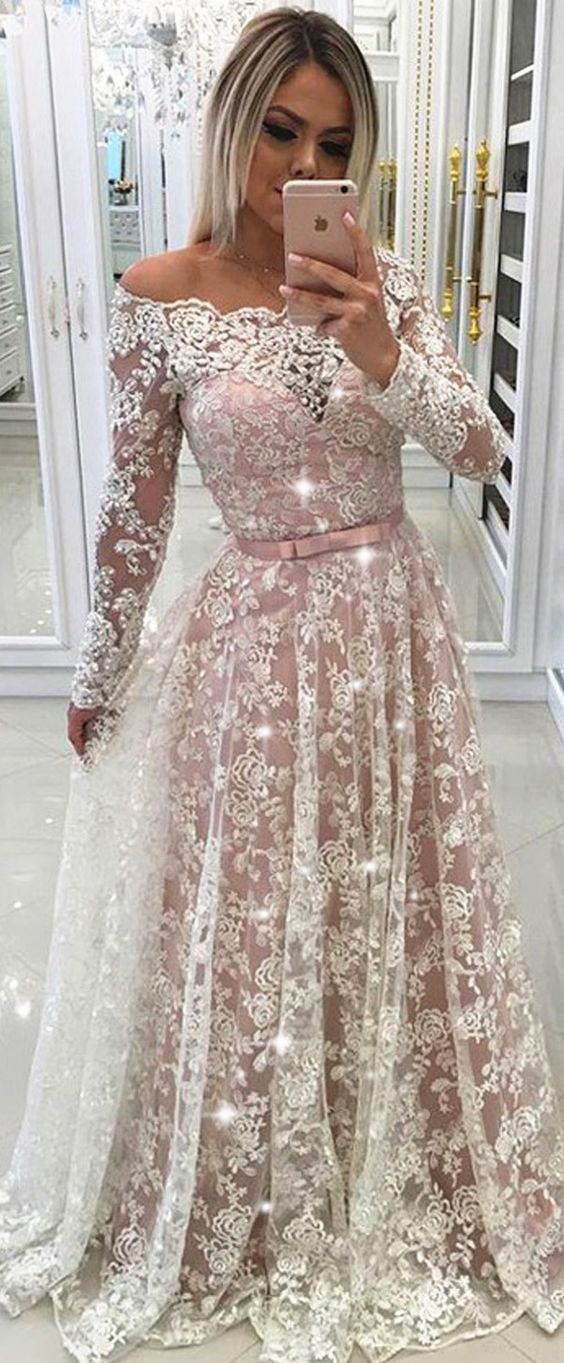 Fascinating Lace Off-the-shoulder Neckline Long Sleeves A-line Prom Dress With