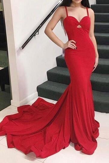 Sweetheart Prom Dress,Red Jersy Mermaid Prom Dress with Spaghetti