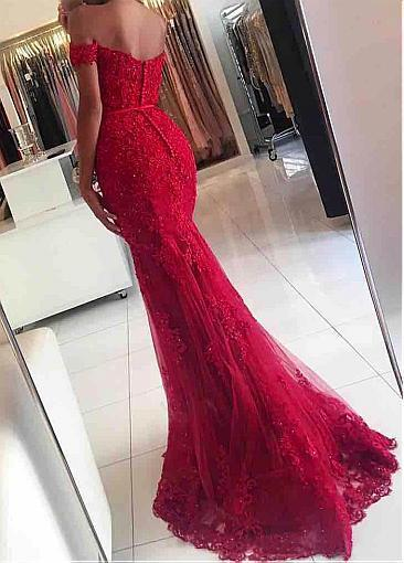 Tulle Off-the-shoulder Neckline Mermaid Formal Dresses With Beaded Lace