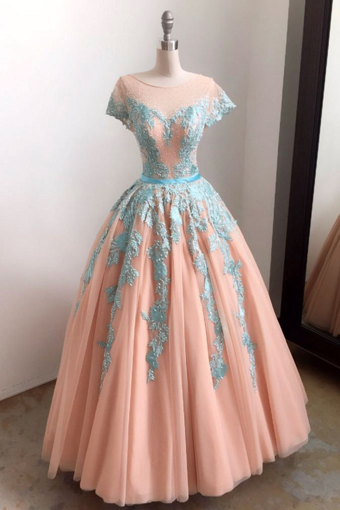 Unique baby blue lace appliques long formal prom dress, tulle evening dress