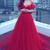 Sweetheart off shoulder simple red tulle long train prom dress, evening dress