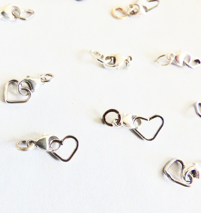 10 Sterling Silver Clasps and Heart Jump Ring Sets
