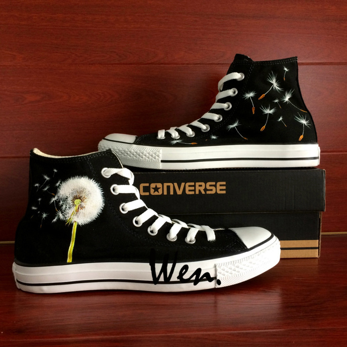 d7d377273aedd Black Classic Canvas Shoes Original Design Dandelion Hand Painted Converse  Sneakers Chuck Taylor High Top All Star