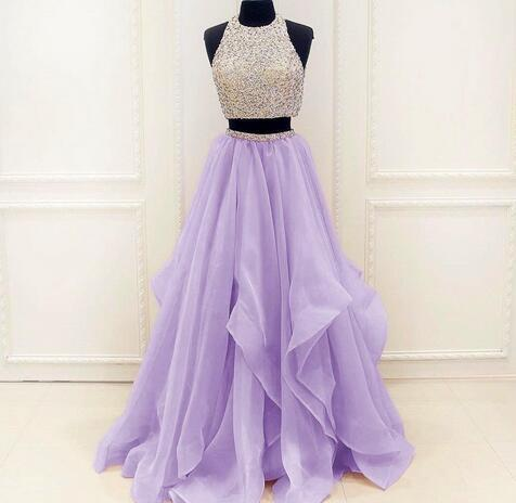 56e118ffa4fe Heavy Beading Lavender 2 Piece Prom Dresses 2018 Floor Length Organza  African