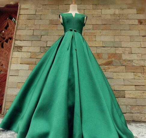 Simple Green Prom Dresses 2018 V Neck by Miss Zhu Bridal on Zibbet