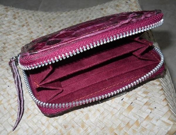 Handmade Python Leather Zip Around Wallet