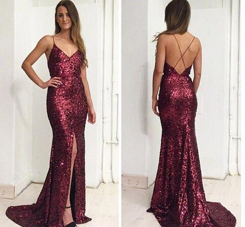 2018 Sparkly Burgundy Sequined Prom by Miss Zhu Bridal on Zibbet