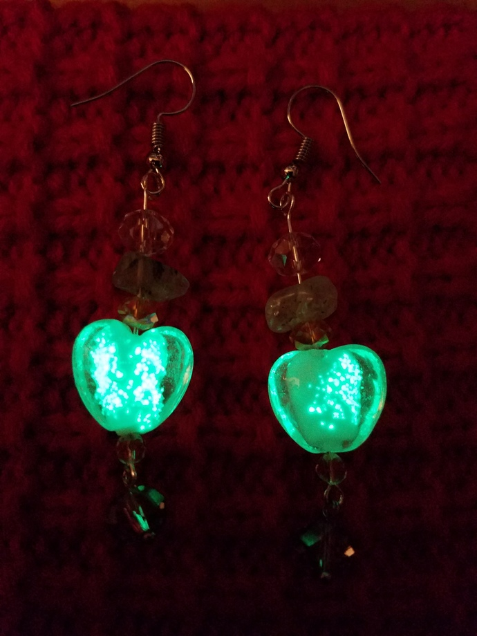 Glow in the dark heart earrings