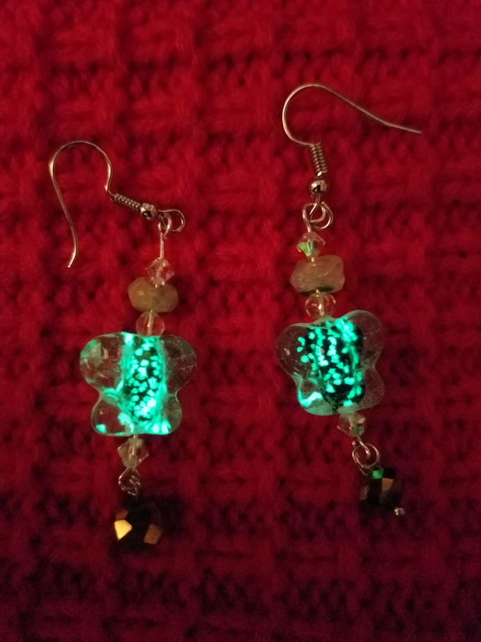 Glow in the dark butterfly earrings