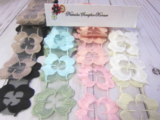 """Flower Embroidered Applique Lace - 2"""" stl"""