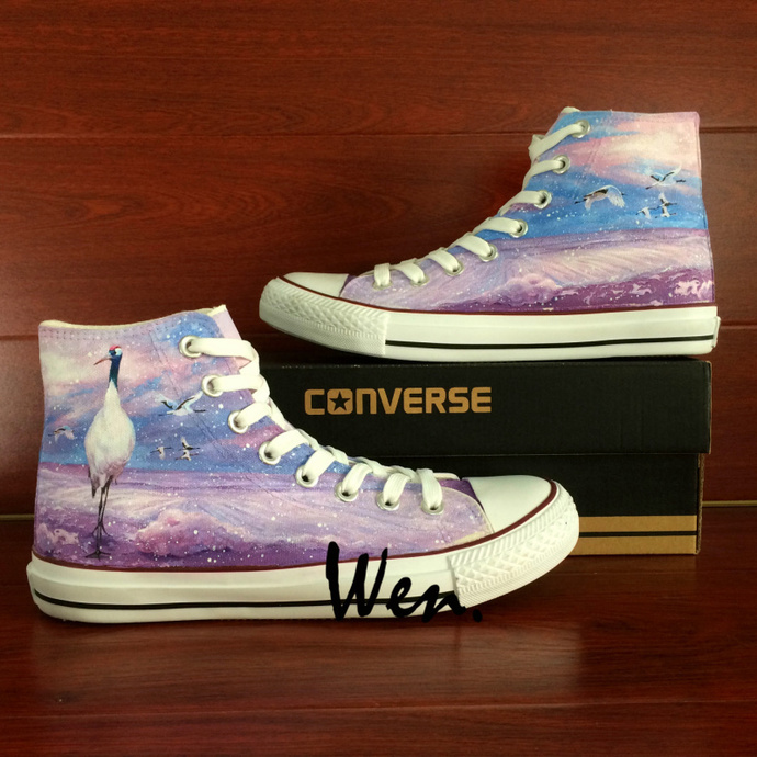 667bbf587092 Red-crowned Crane Hand Painted Shoes Original Design High Top Converse All  Star