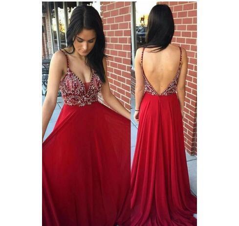 ac0eb88fec4 Sexy Backless Burgundy Chiffon Prom Dresses 2018 Spaghetti Straps Beading A  Line