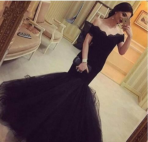 af1d2e345f7 Off Shoulder Black Mermaid Prom Dress Sexy Lace Corset Custom Made Formal