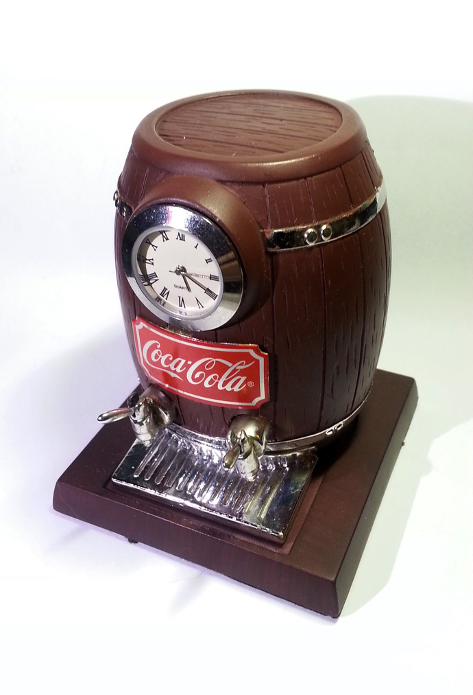 Coca Cola Barrel Shaped Desk Clock - Tested Works