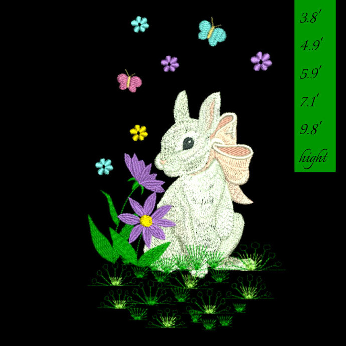 Embroidery Design Easter Bunny pes files instant digital designs in the hoop