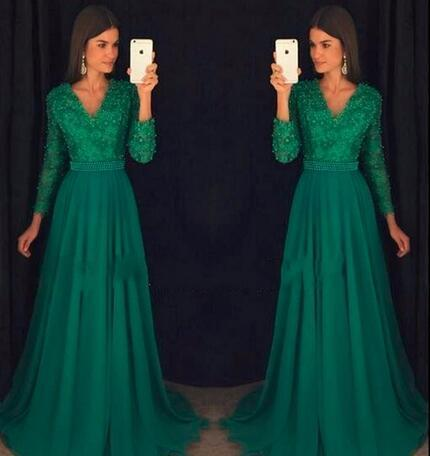 1d6c8a51d12 Formal Green Long Sleeve Evening Dresses 2018 Elegant Appliques Lace Beaded